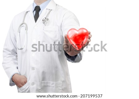 doctors holding red heart for protecting concept idea on white background with clipping path  - stock photo