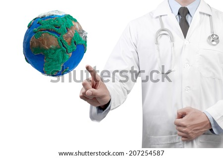 doctors pointing globe diagnosis concept for medical and ecology on white background - stock photo