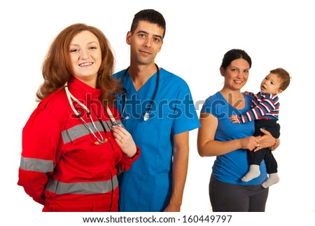 Doctors team in front of image and mother with son in background - stock photo
