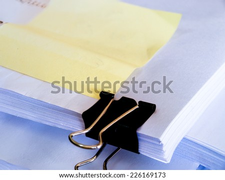 Document and post-it to make sure of document. - stock photo
