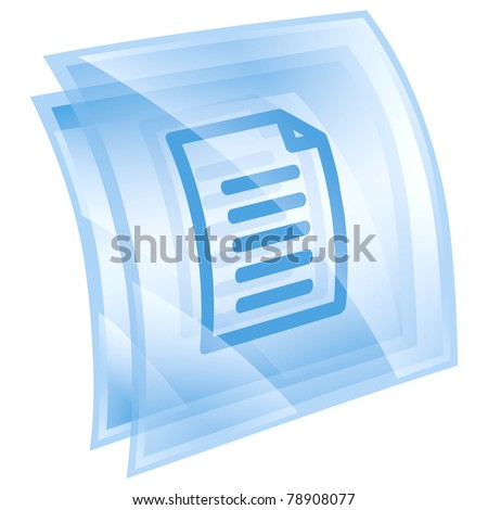 Document icon blue, isolated on white background - stock photo