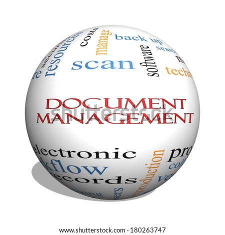 Document Management 3D sphere Word Cloud Concept with great terms such as data, back up, files and more. - stock photo