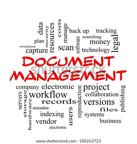 Document Management Word Cloud Concept in red caps with great terms such as data, back up, files and more. - stock photo