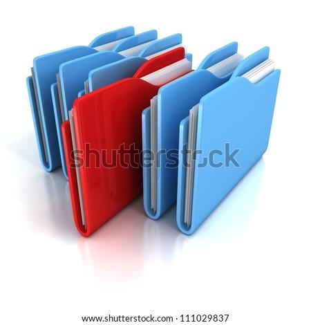 document office folders on white background - stock photo