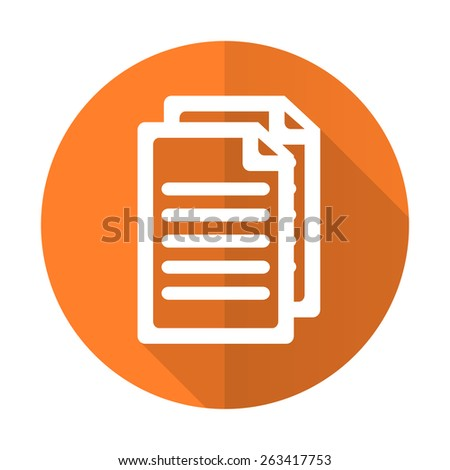 document orange flat icon pages sign  - stock photo