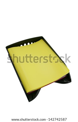 Document sat in plastic tray - stock photo