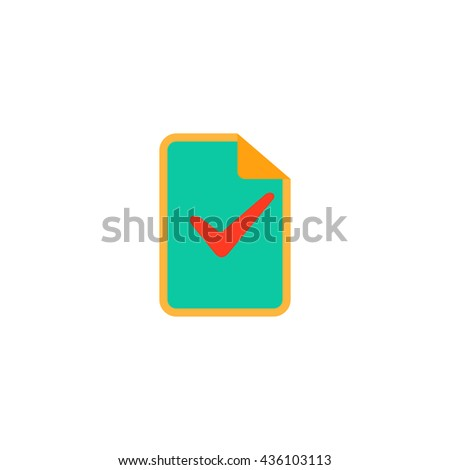 Document with check mark. Color simple flat icon on white background - stock photo