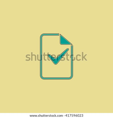 Document with check mark. Grren simple flat symbol with black stroke over yellow background - stock photo