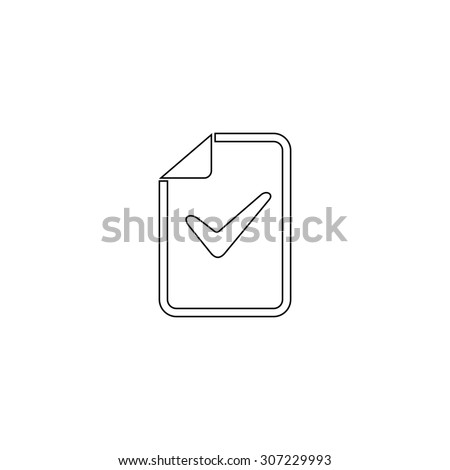 Document with check mark. Outline black simple symbol - stock photo