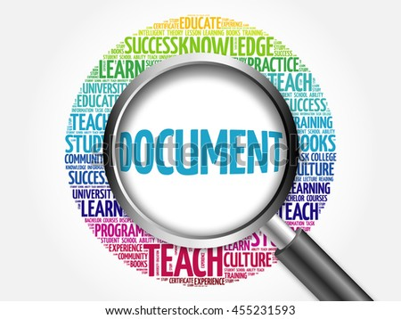DOCUMENT word cloud with magnifying glass, concept 3D illustration - stock photo