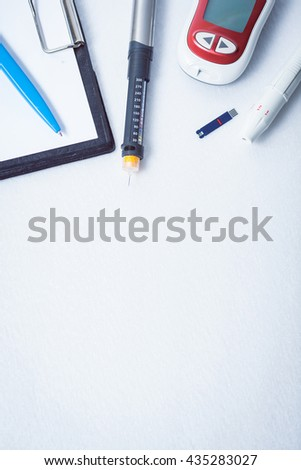 document, writing data from glucometer to medical form, result of measurement sugar, concept for measuring sugar level - stock photo