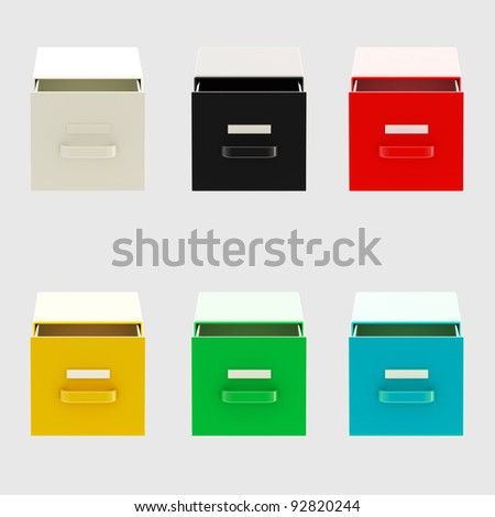Documents and bureaucracy: six kinds of drawers isolated on grey - stock photo