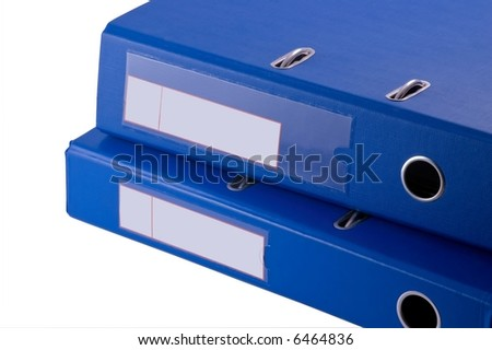 documents in blue file binder on white background - stock photo