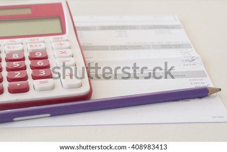 documents monthly expense - stock photo