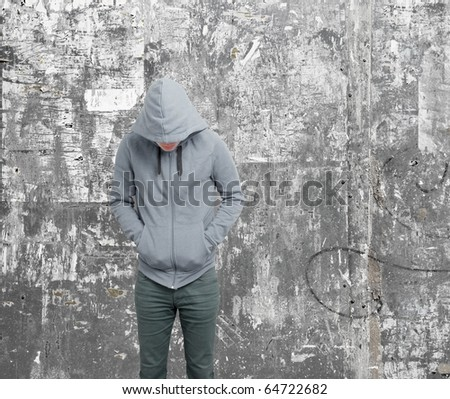 Dodgy guy with hoodie - stock photo