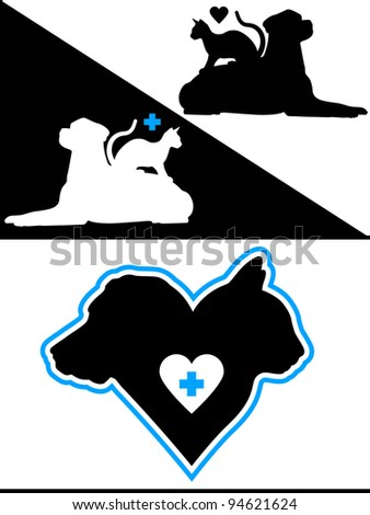 Dog and Cat Silhouette Design Elements - stock photo