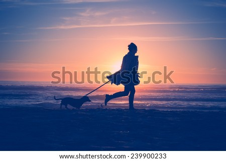 Dog and Girl at sunset on the beach - stock photo