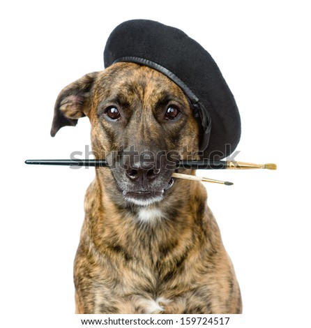 dog as a painter with a brush. isolated on white background - stock photo