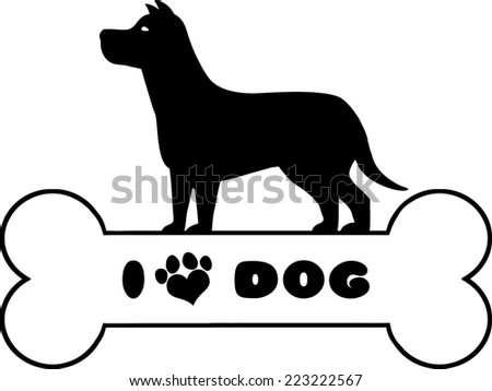 Dog Black Silhouette Over Bone With Text And Love Paw Print Raster Illustration Isolated On White Background - stock photo