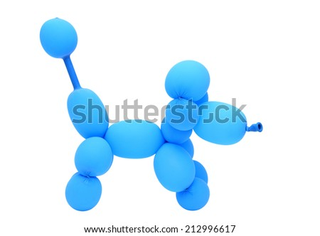 dog created with balloon isolated on white background - stock photo