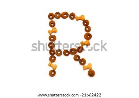 Dog food alphabet - R - stock photo