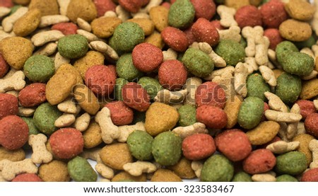 Dog food put together on a white ground, - stock photo