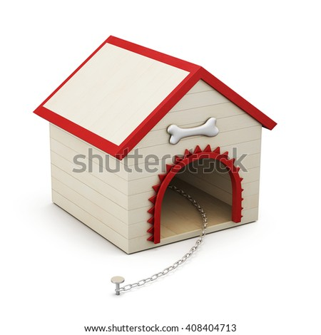 Dog house with chain isolated on white background. 3d rendering.  - stock photo