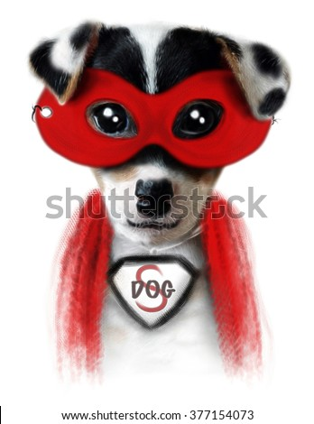 Dog illustration/superhero dog/watercolor dog/dog poster/T-shirt graphics/Funny dog/dog sticker/pet shop dog print/Tattoo design/animal print/cartoon character/jack russell drawing/funny dog mask  - stock photo