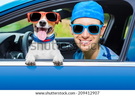 dog in a car looking through window with Driving instructor - stock photo