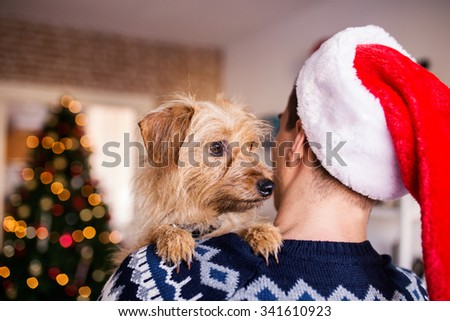 Dog on a man shoulders. Man wearing Santa Claus hat, Christmas, winter, depth of field, selective focus  - stock photo