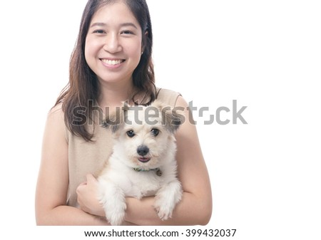 Dog owner with dog lover - stock photo