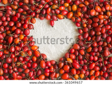 Dog rose berries in the form of heart on cotton fabric. Dog-rose berries. - stock photo