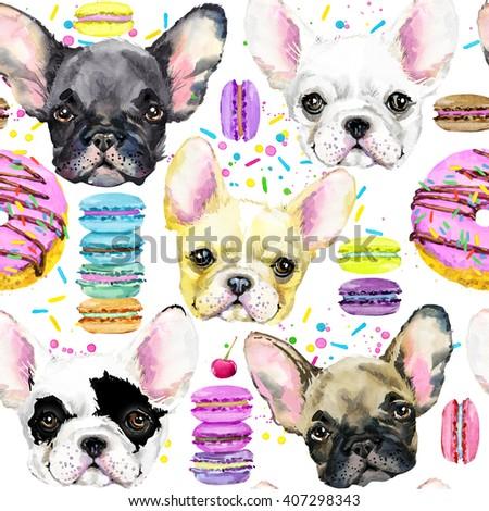 Dog Seamless pattern. French Bulldog. Cute dog. Watercolor dog. Puppy dog illustration. Fashion print. Sweet dessert background. Dessert seamless pattern. - stock photo