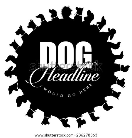 Dog silhouettes advertising background  - stock photo
