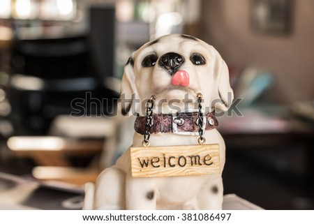 Dog welcome banners for their dolls. - stock photo