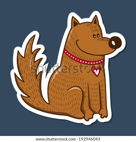 Dog with heart on collar. Paper sticker imitation.  - stock photo