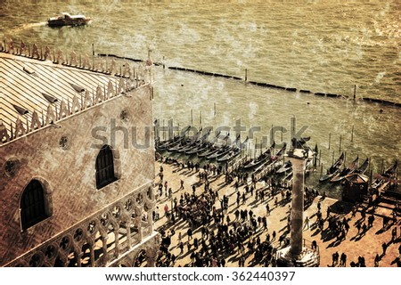 Doge's Palace (Palazzo Ducale) and touristic crowd on the at St. Mark's Square during the Carnival in Venice (Italy). A view from above. Retro aged photo with scratches. - stock photo