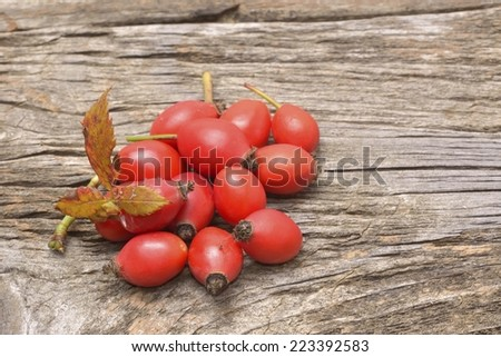 Dogrose with leafs on a old textured wooden background - stock photo