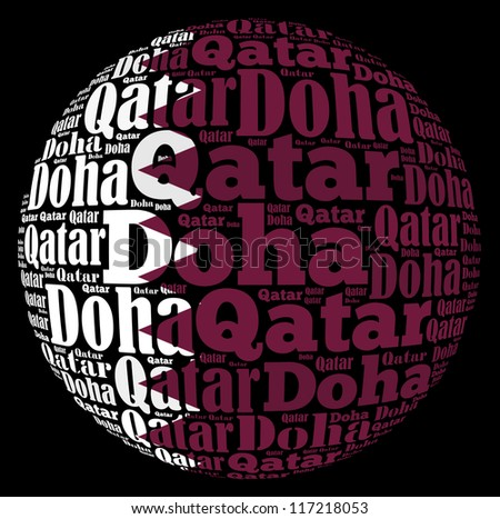 Doha capital city of Qatar info-text graphics and arrangement concept on black background (word cloud) - stock photo