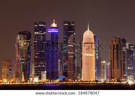 Doha downtown skyline at night. Qatar, Middle East - stock photo