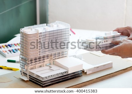 doing architecture  small model  dummy  building work  - stock photo