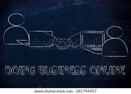 doing business online: users virtually shaking hands through the web - stock photo