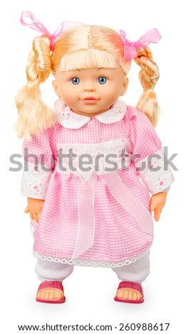Doll in pink dress isolated on white background - stock photo
