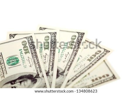 Dollar abstract background against white, with one hundred dollars - stock photo