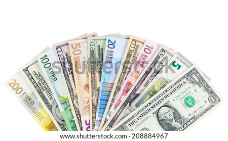 Dollar and euro banknotes isolated on white background with clipping path - stock photo