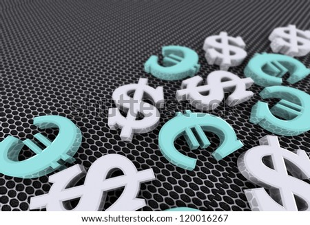 Dollar and euro concept with silver dollar symbols and blue euro symbols over grey background - stock photo