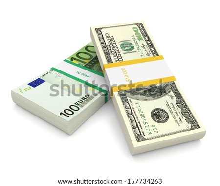 Dollar and Euro currency bill stack on a white background. 3d image - stock photo