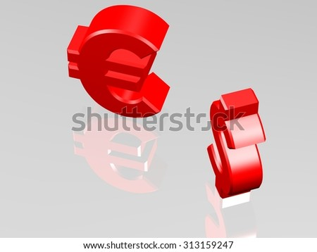 Dollar and Euro currency sign, opposing each other, exchange or trading business concept. View from top. 3D CGI Rendering on white reflecting surface. - stock photo