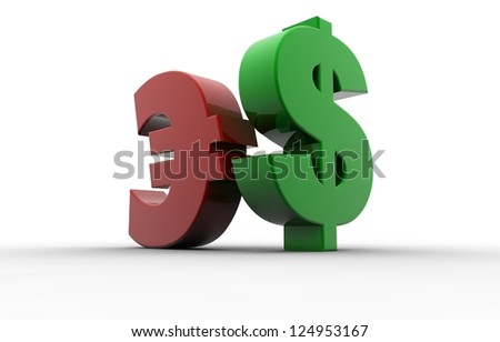 Dollar and Euro sign - stock photo