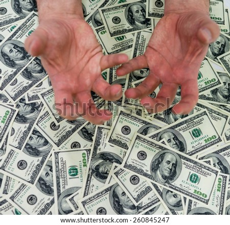 Dollar and hands - stock photo